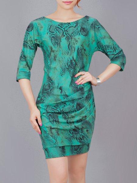 Green Cotton-blend Elegant Animal Print Mini Dress