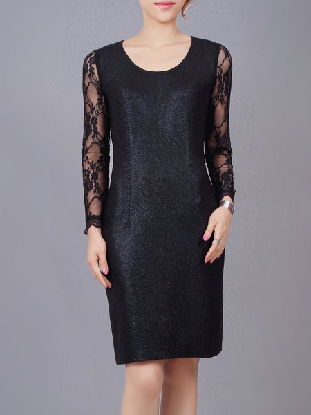 Black Solid Crew Neck Paneled Long Sleeve Midi Dress