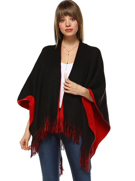 Black Reversible Poncho Shawl