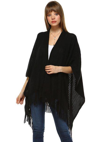 Black H-line Cotton-blend Batwing Poncho