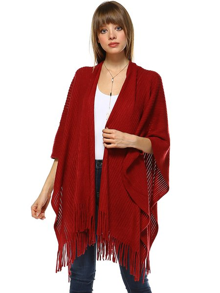 Casual Solid Batwing Fringed Poncho