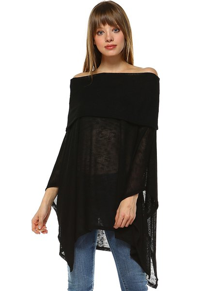 Off Shoulder Casual Batwing Poncho