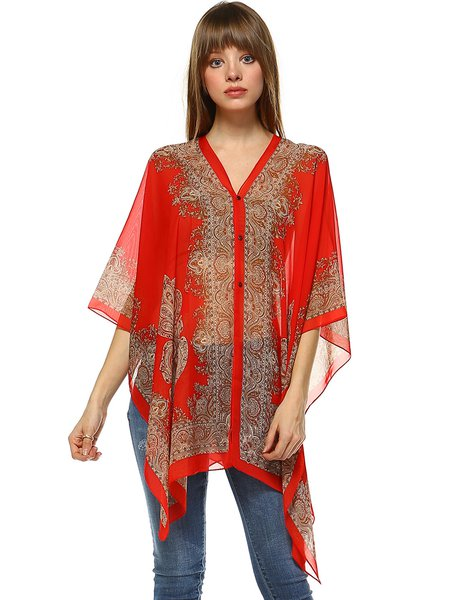 Red Batwing Abstract Polyester Kimono