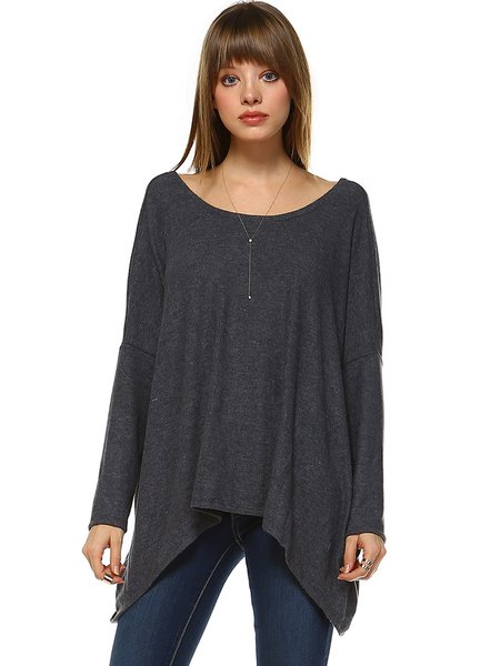 Deep Gray Reversible Batwing Rayon Tunic