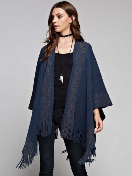 Navy Blue Stripes Fringed Batwing Cotton-blend Poncho
