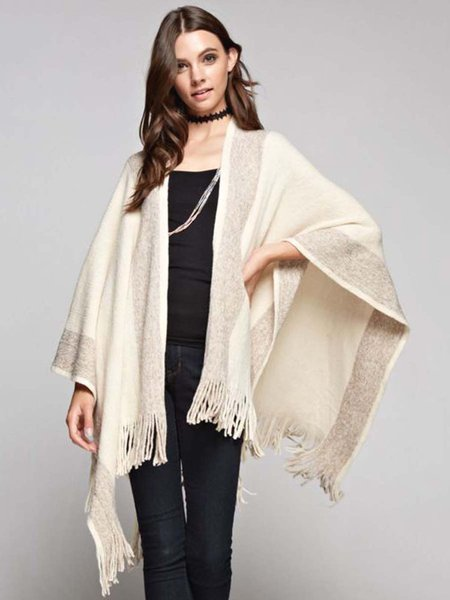 Stripes Casual Batwing Cotton-blend Fringed Poncho