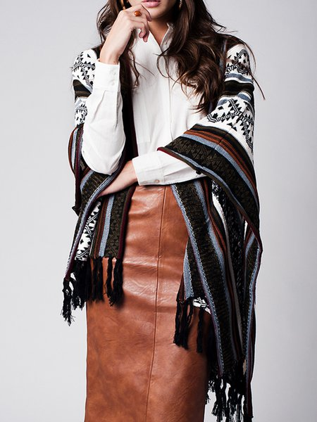 Black H-line Boho Knitted Fringed Poncho