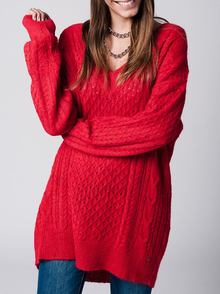 Red Wool Blend H-line Simple Solid Sweater
