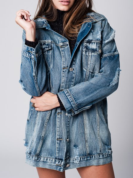 Blue Washed Denim Long Sleeve H-line Coat
