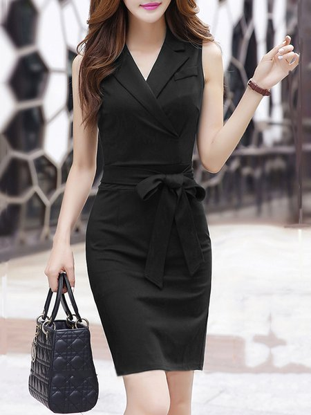 Sleeveless Elegant Surplice Neck Bow Midi Dress