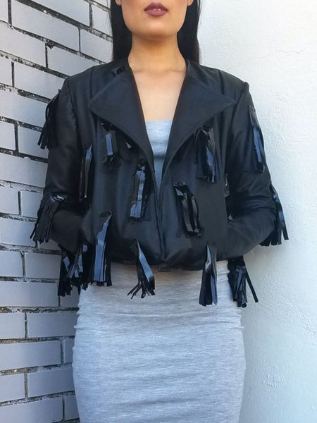 Black Fringed Solid Long Sleeve Lapel Cropped Jacket