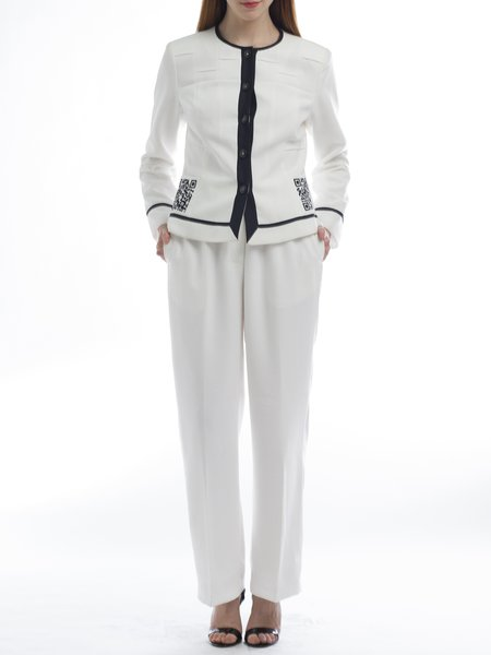 White Polyester Crew Neck Two Piece Long Sleeve Suits And Separate