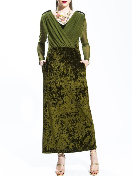 Olive Green Polyester Ruched Long Sleeve Maxi Dress