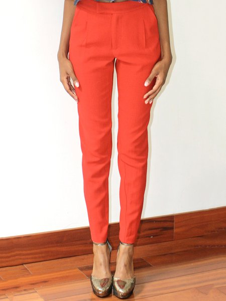 Red H-line Simple Skinny Leg Pants