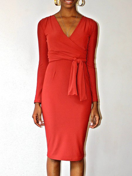 Red V Neck Sheath Elegant Wrap Dress