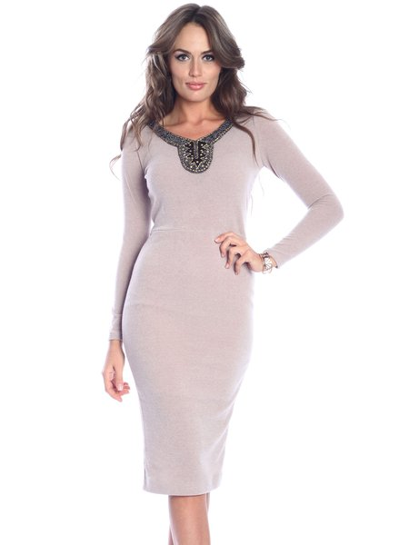 Beige Elegant Beaded Crew Neck Midi Dress