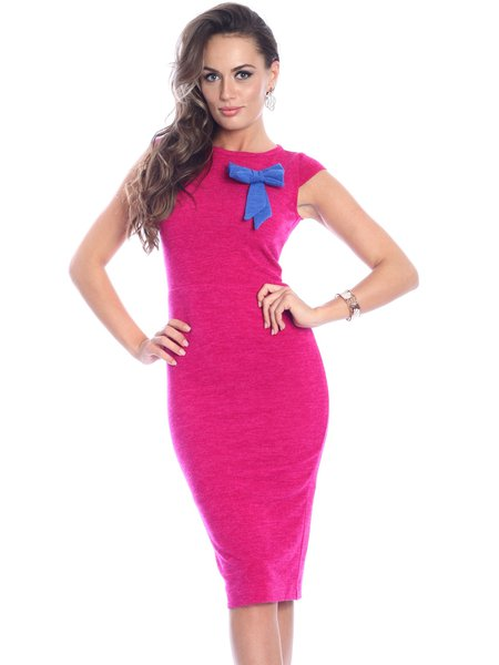 Fuchsia Polyester Solid Sleeveless Crew Neck Midi Dress