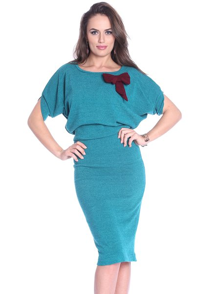 Aqua Crew Neck Elegant Solid Midi Dress