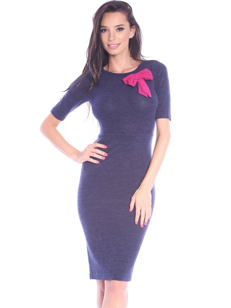 Purple Bow Elegant Polyester Solid Midi Dress