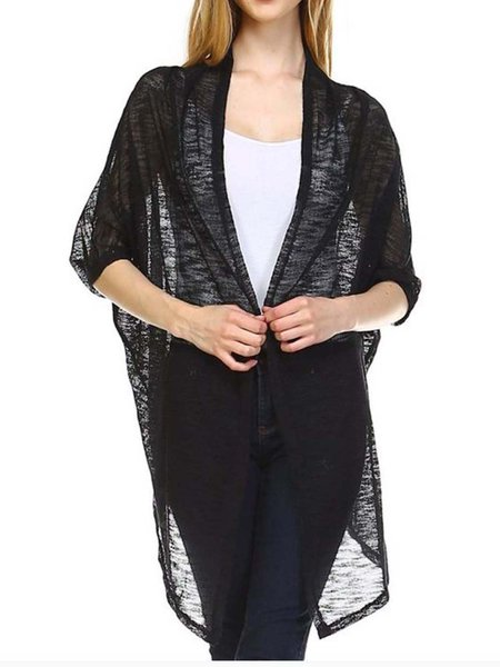 Black Asymmetrical Short Sleeve Knitted Cardigan