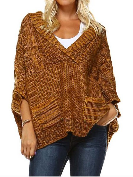 Camel H-line V Neck Batwing Knitted Sweater
