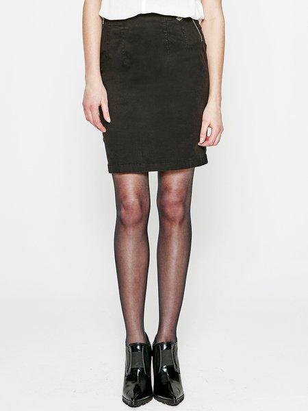Black H-line Simple Cotton-blend Midi Skirt