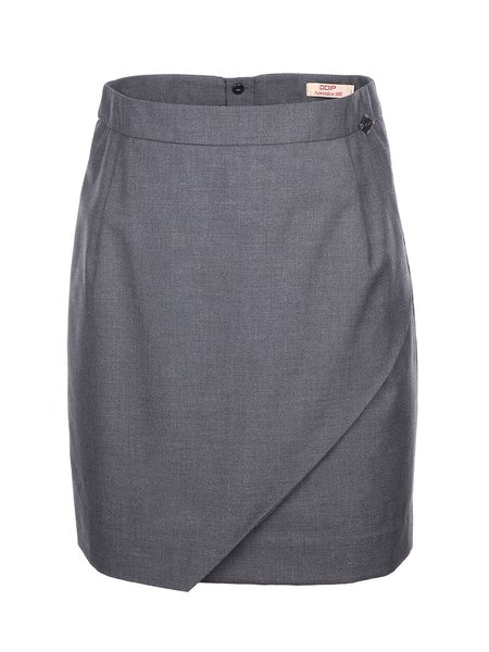 Deep Gray Solid Work Asymmetric H-line Mini Skirt
