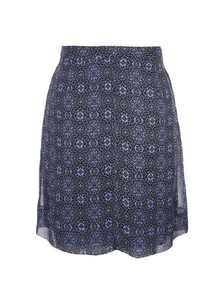 Navy Blue Printed A-line Girly Mini Skirt
