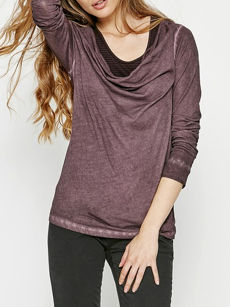 Burgundy Paneled Crew Neck Casual Long Sleeved Top