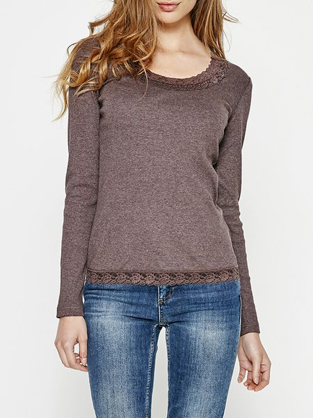 Brown Basic Cotton-blend Long Sleeved Top