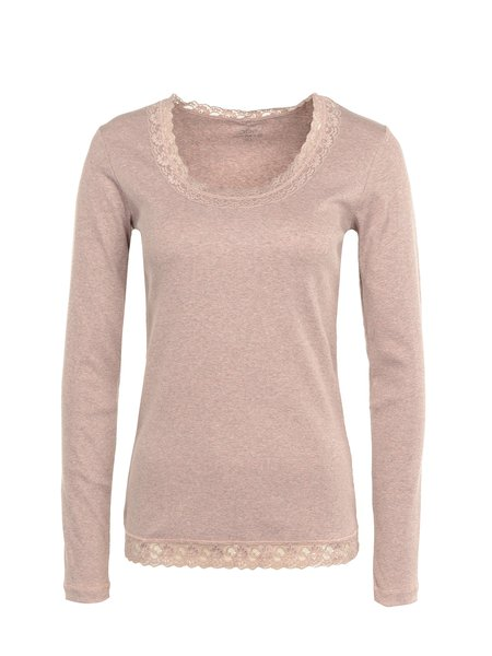Pink Paneled Solid Basic Long Sleeved Top