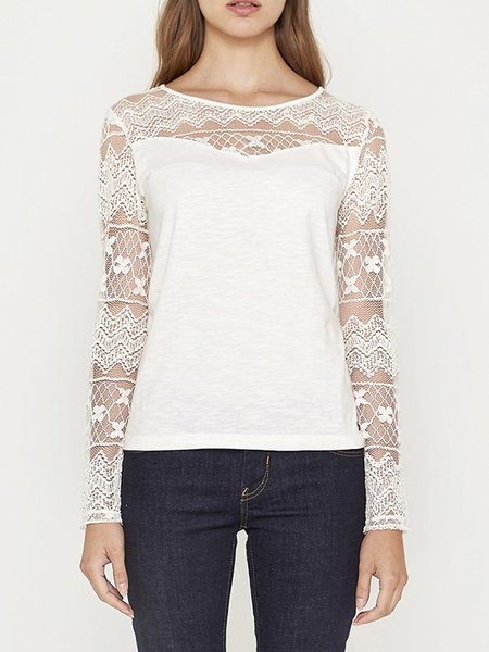 White Crew Neck Elegant Lace H-line Long Sleeved Top