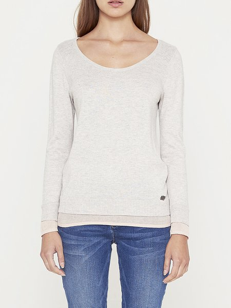 Beige Long Sleeve Crew Neck Paneled Long Sleeved Top