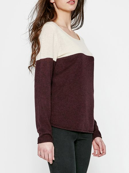 Burgundy Color-block H-line Crew Neck Long Sleeve Sweater