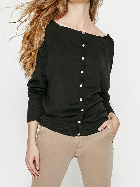 Solid Casual Buttoned H-line Long Sleeved Top