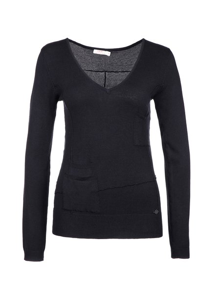 Casual V Neck Pockets Long Sleeved Top