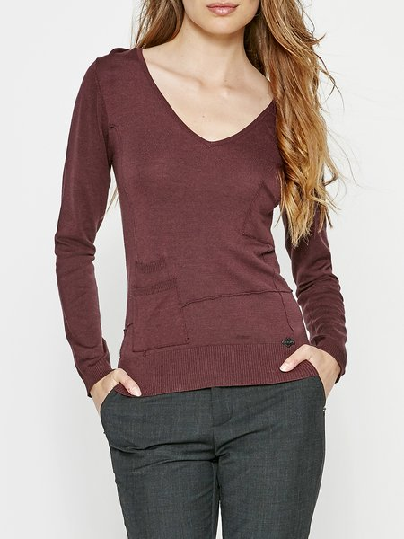 Pockets Solid Knitted Casual Long Sleeved Top