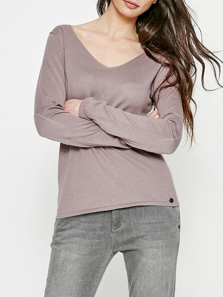 Deep Pink Cotton Graphic Casual Crew Neck Long Sleeved Top