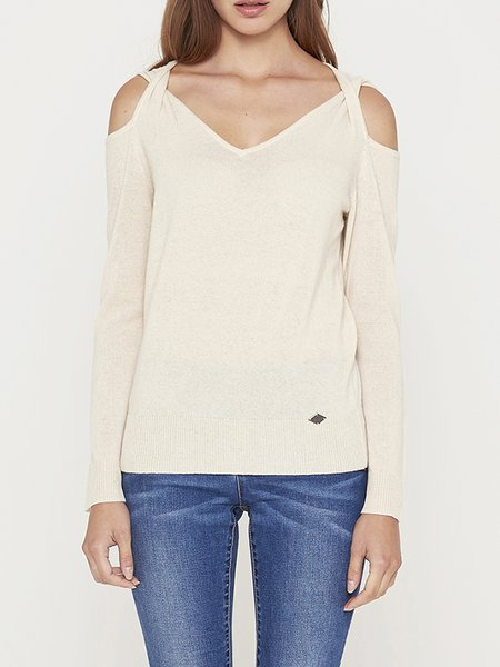 Cream Wool Blend Solid Casual Cold Shoulder Long Sleeved Top