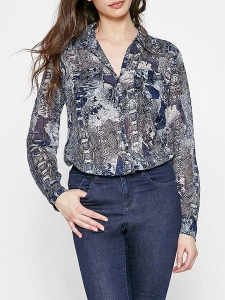 Printed Shirt Collar Abstract Elegant Long Sleeve Blouse