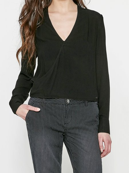 H-line Plunging Neck Elegant Long Sleeve Blouse
