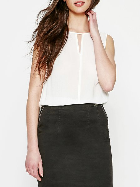 White Crew Neck Sleeveless Viscose Blouse
