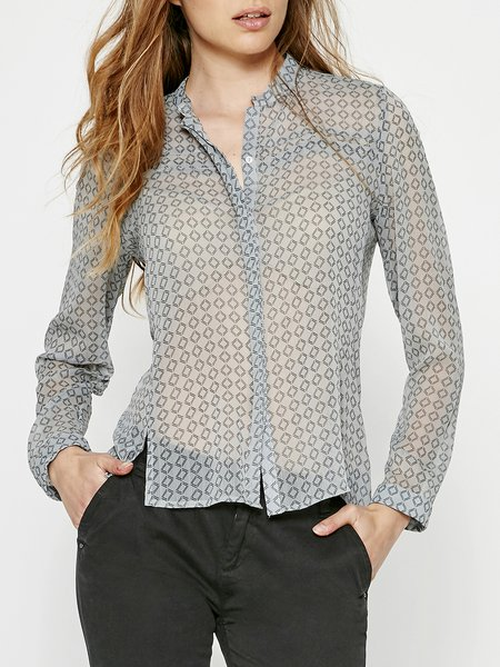 Long Sleeve Elegant Geometric Shirt Collar Polyester Blouse