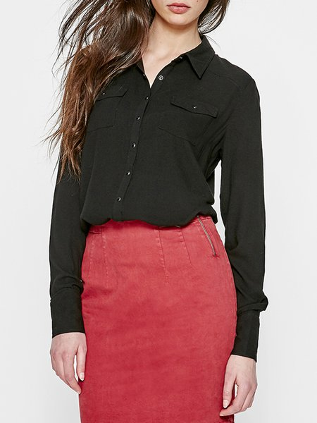 Black Long Sleeve Pockets H-line Blouse