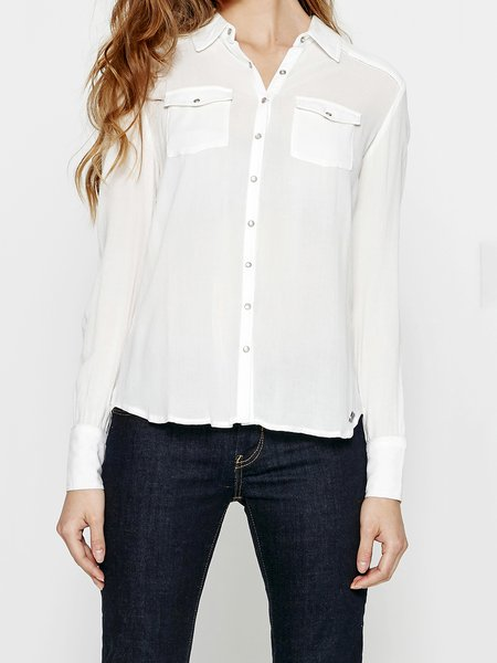 Shirt Collar Viscose Casual Pockets Long Sleeve Blouse