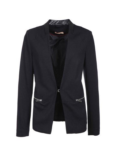 Black Solid Long Sleeve Zipper Polyester Blazer