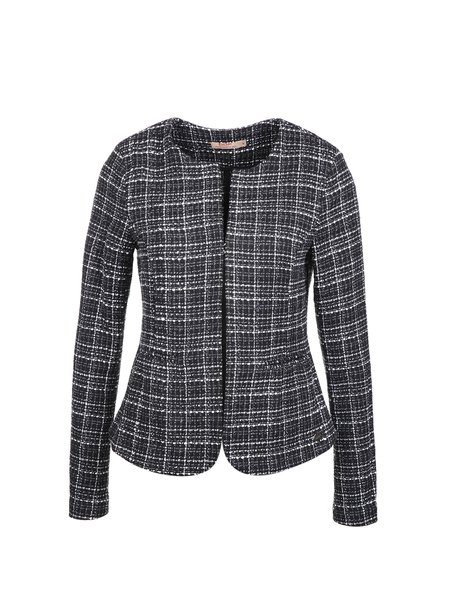 Black Crew Neck Tweed Long Sleeve H-line Cropped Jacket