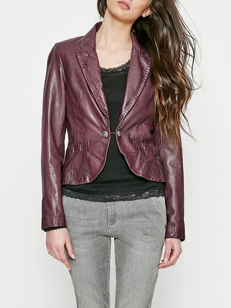 Burgundy Casual Buttoned Leather Jacket