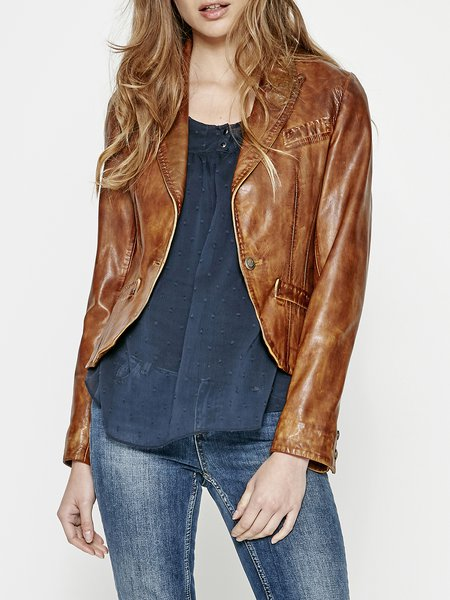 Camel Buttoned H-line Casual Leather Jacket