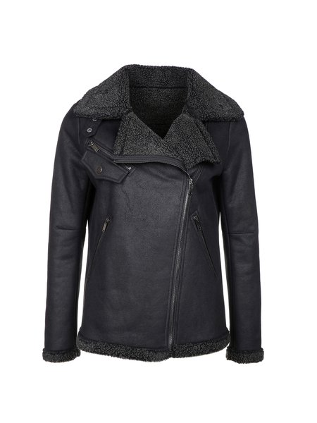 Solid Long Sleeve Lapel Zipper Casual Coat